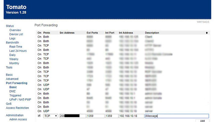 router configuracion imessage
