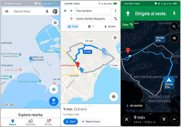 ruta google maps modo oscuro