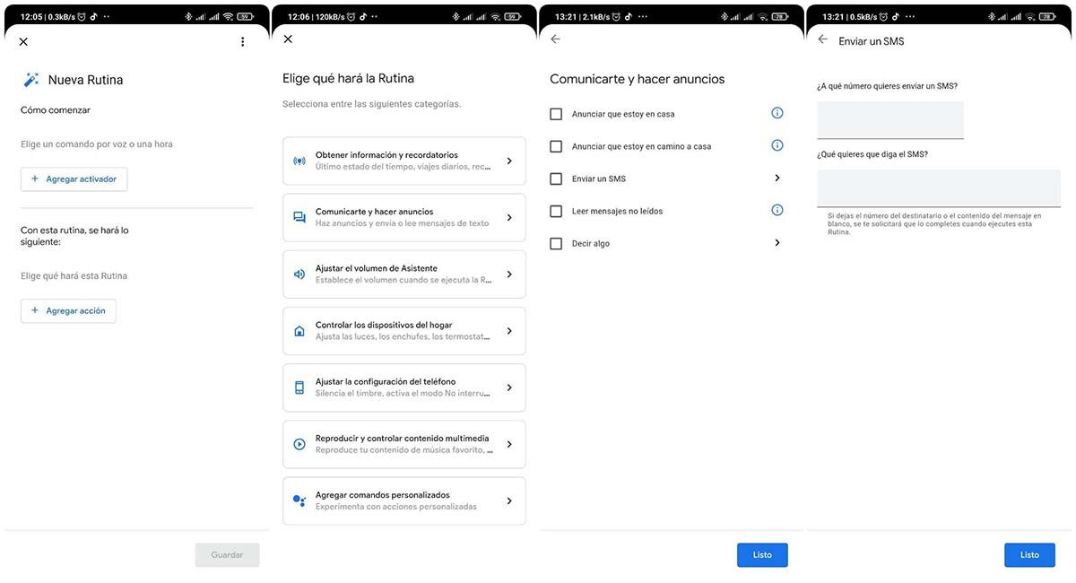 rutina asistente de google enviar mensaje automatico