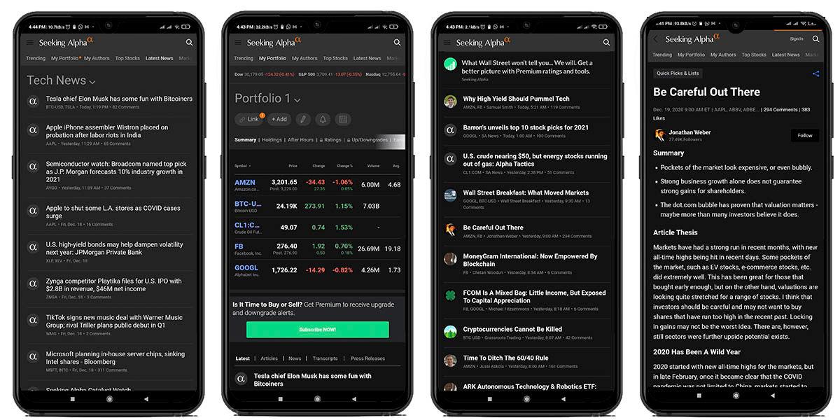 seeking alpha mejor aplicación fundamentales mercado android