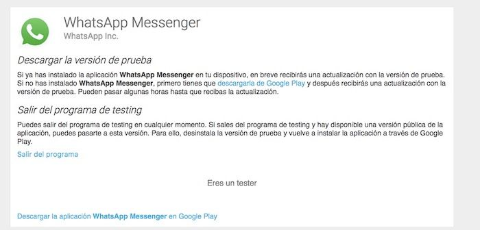 ser beta tester de WhatsApp en Android
