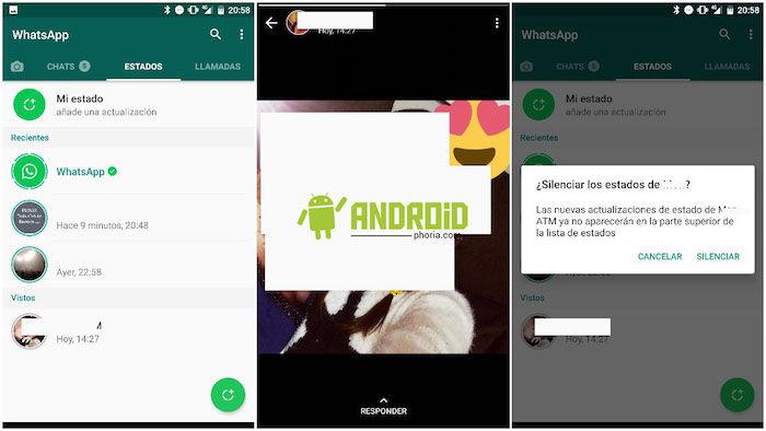 silenciar los estados de WhatsApp de otros contactos