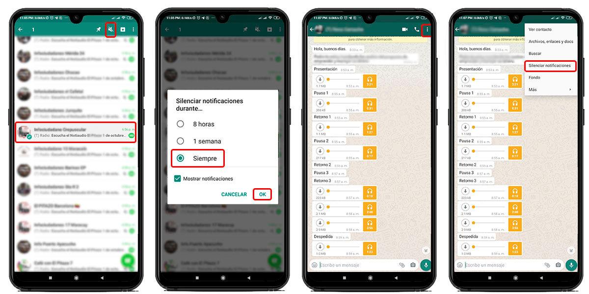 silenciar notificaciones grupo whatsapp permanentemente