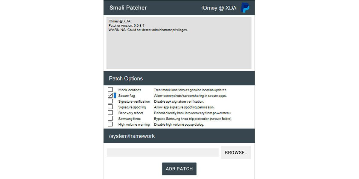smali patcher capturas de pantalla bloqueadas root