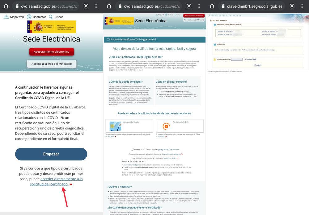 Solicitar certificado COVID Digital
