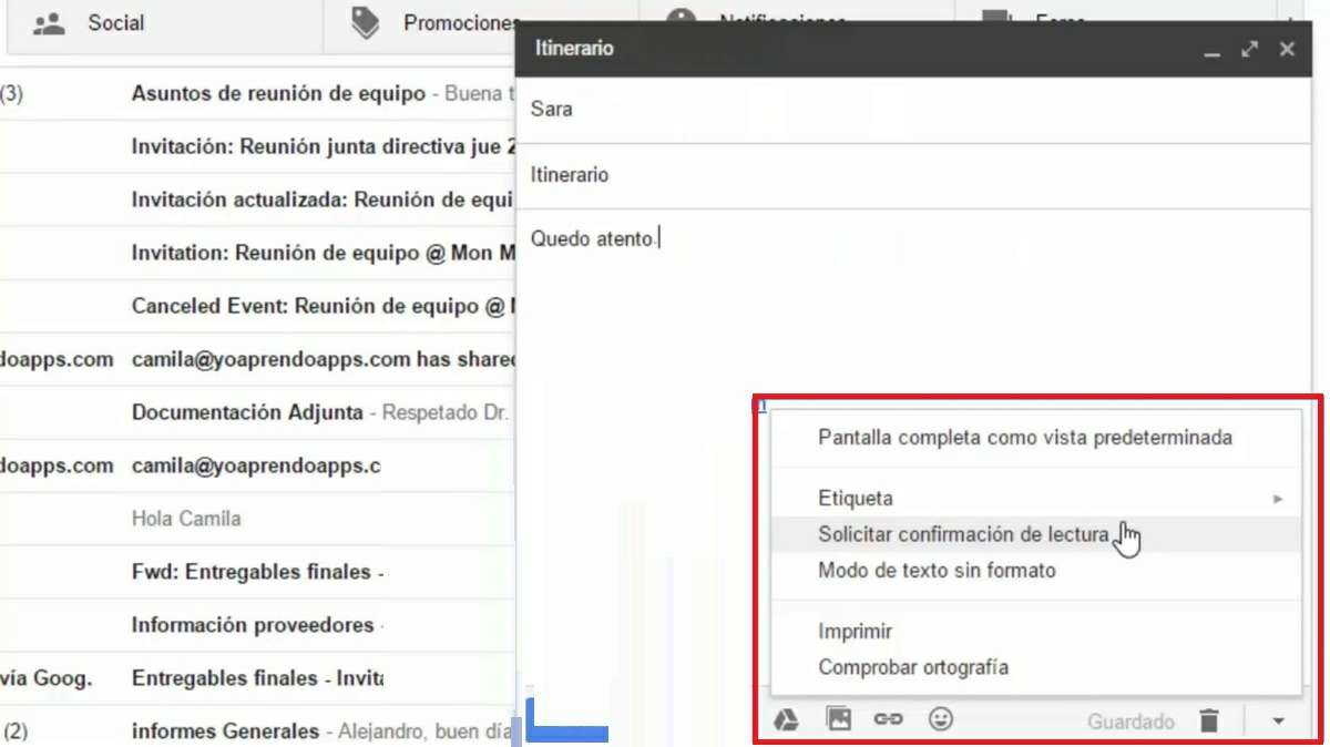 solicitar confirmacion de lectura gmail g suite