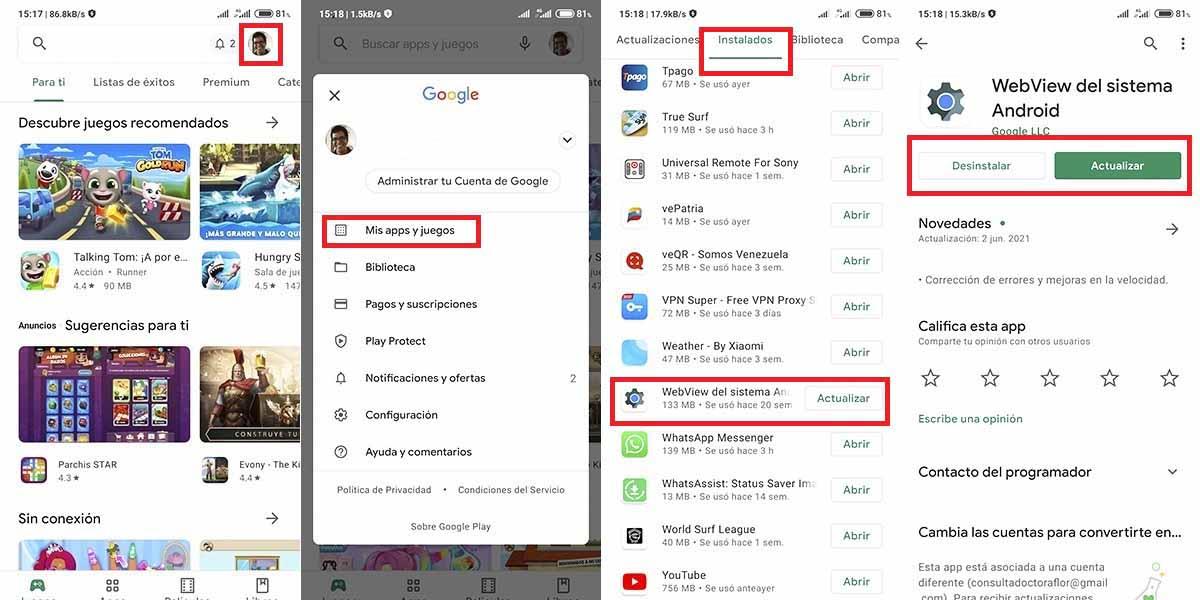 solucion WhatsApp se cierra solo en Android cuadro webview