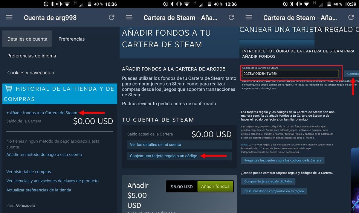 steam como canjear codigo desde app para android 2