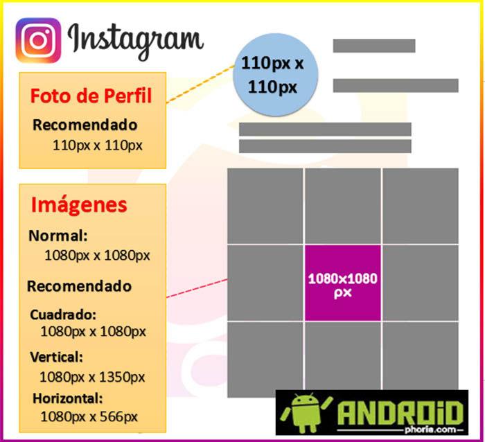 del tamaño de las imágenes de Instagram