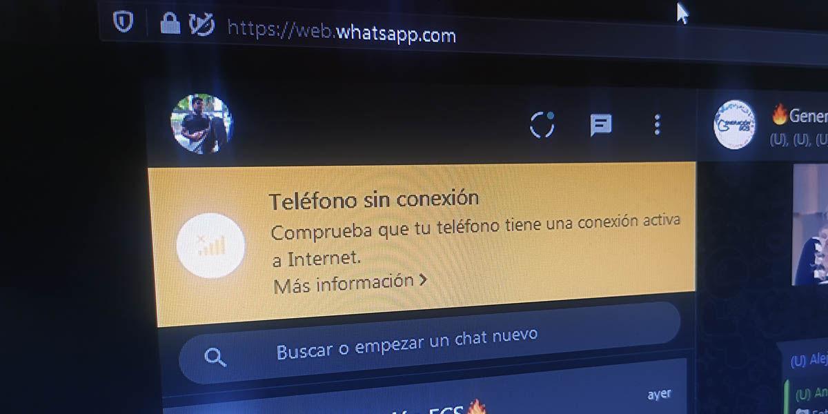 teléfono sin conexión whatsapp web