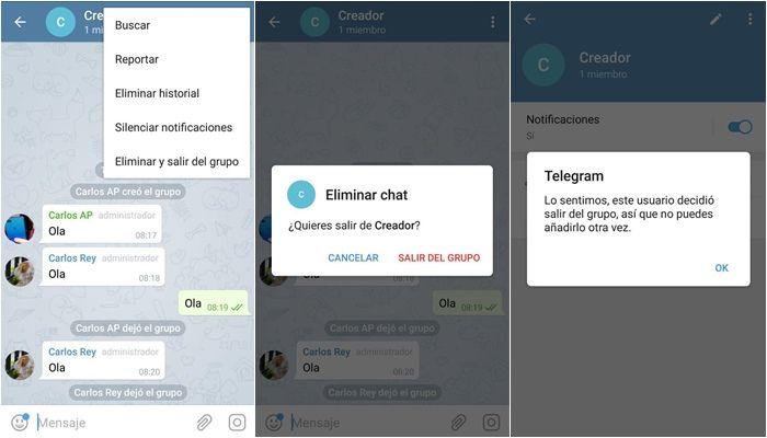 telegram eliminar creador de grupo
