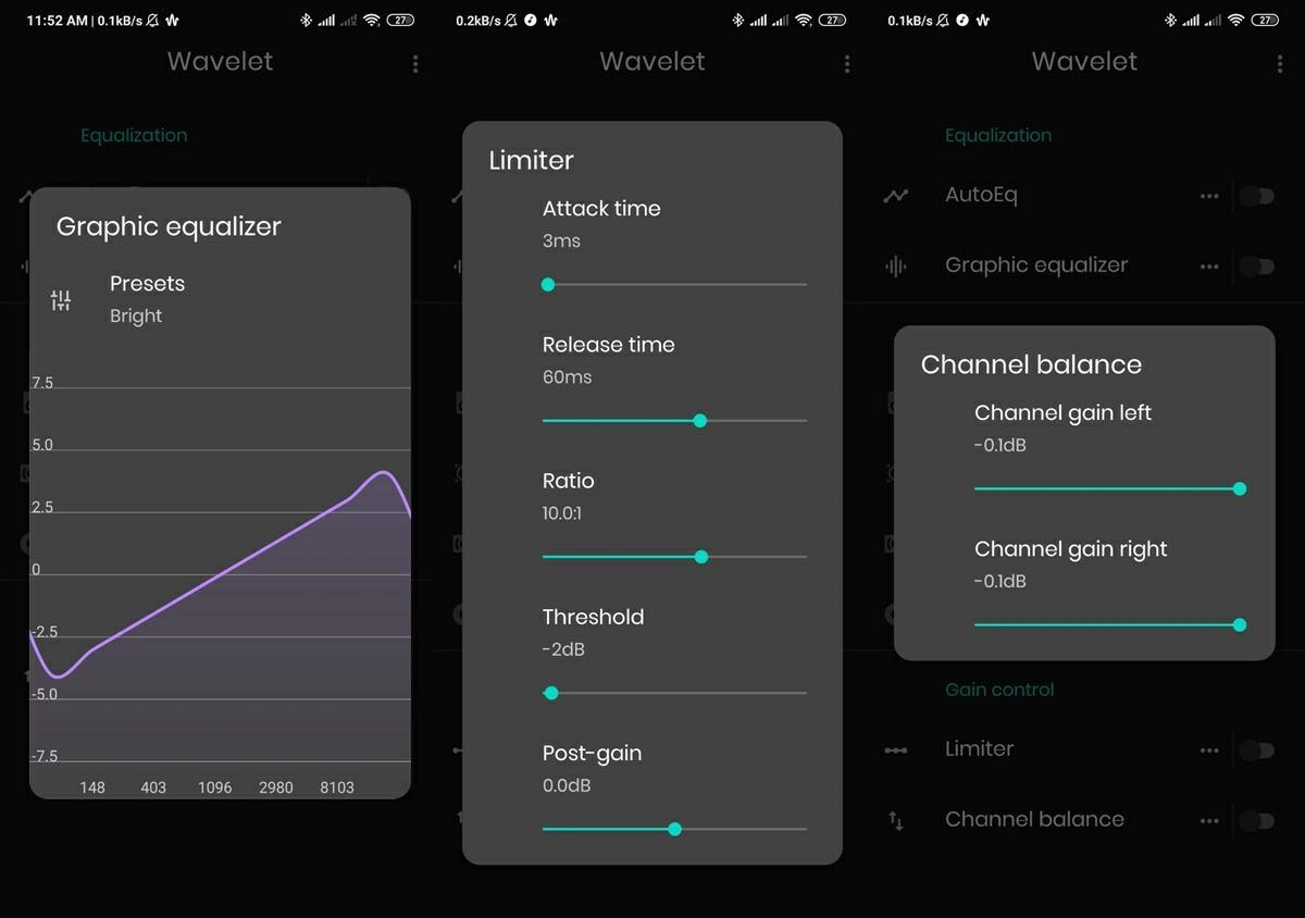 todas las opciones que ofrece la app wavelet para mejorar sonido de auriculares