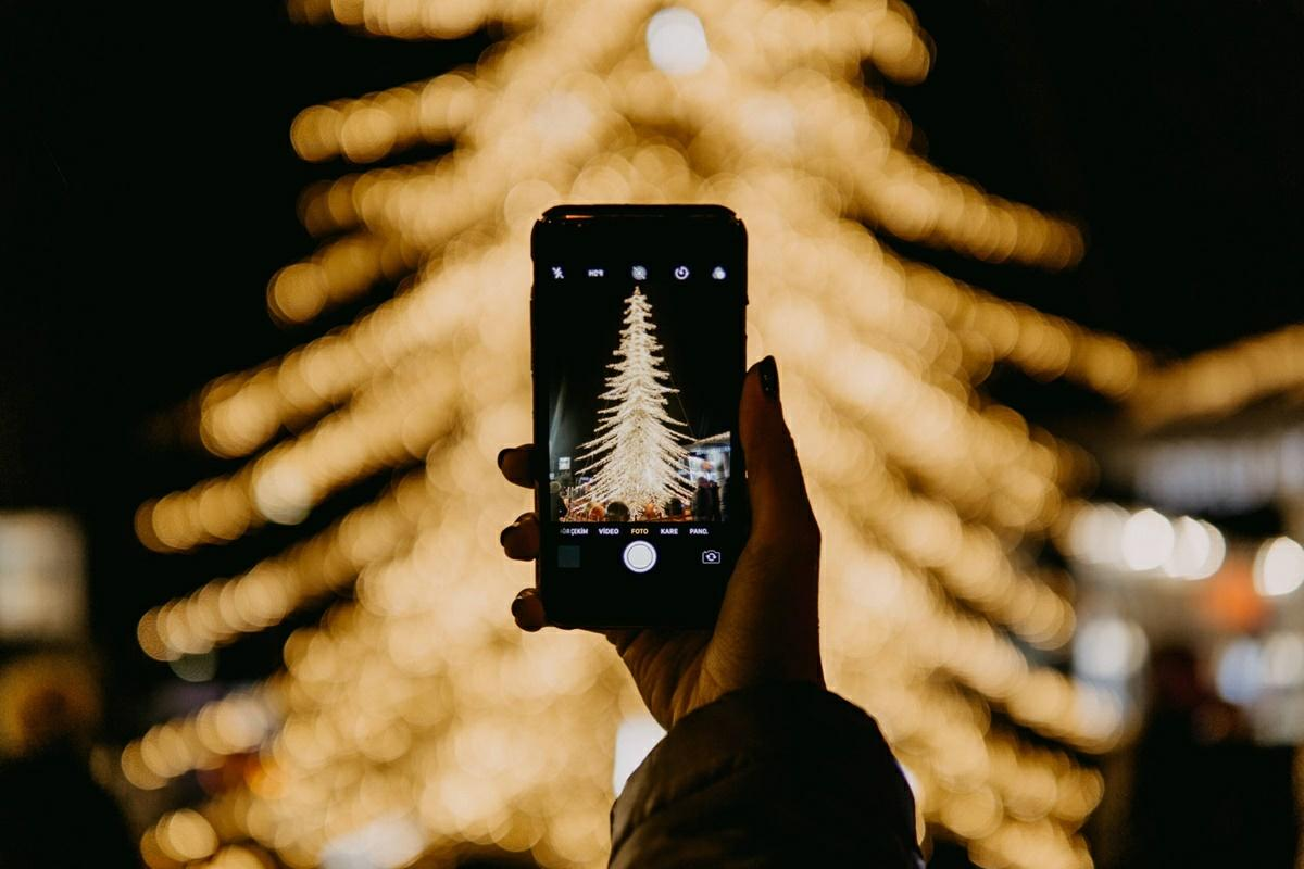 tomar foto de navidad a oscuras