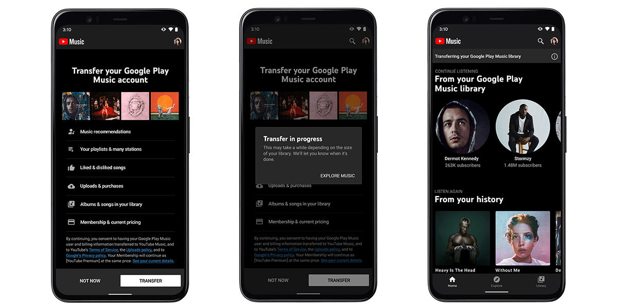 transferir musica google play a youtube music