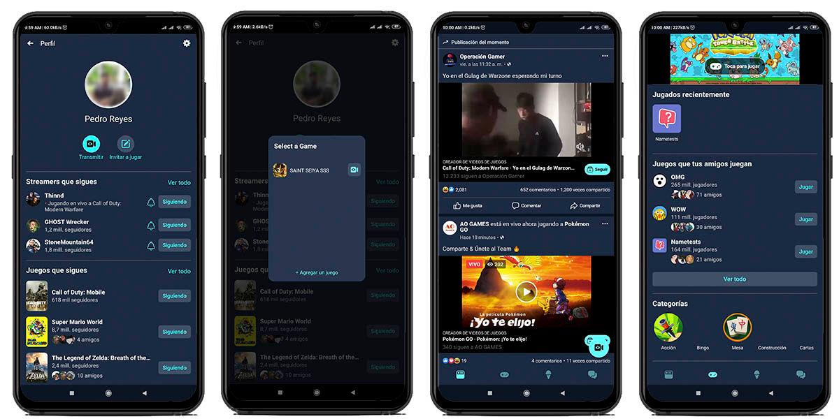 transmitir videos streaming juegos facebook gaming