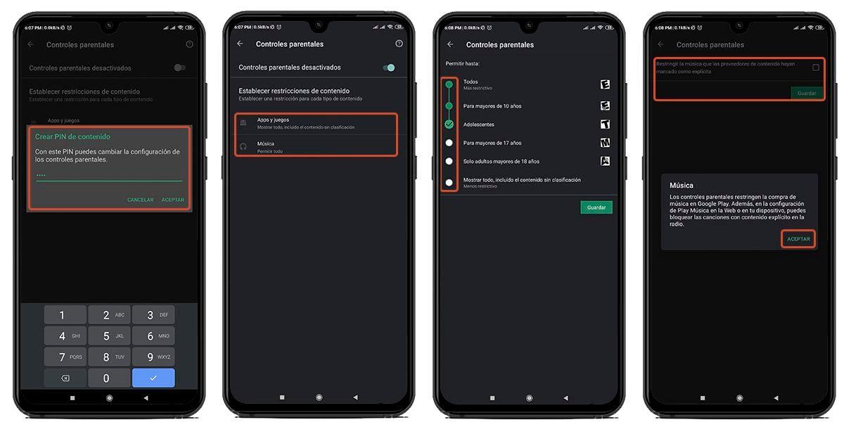 tutorial control parental tienda android