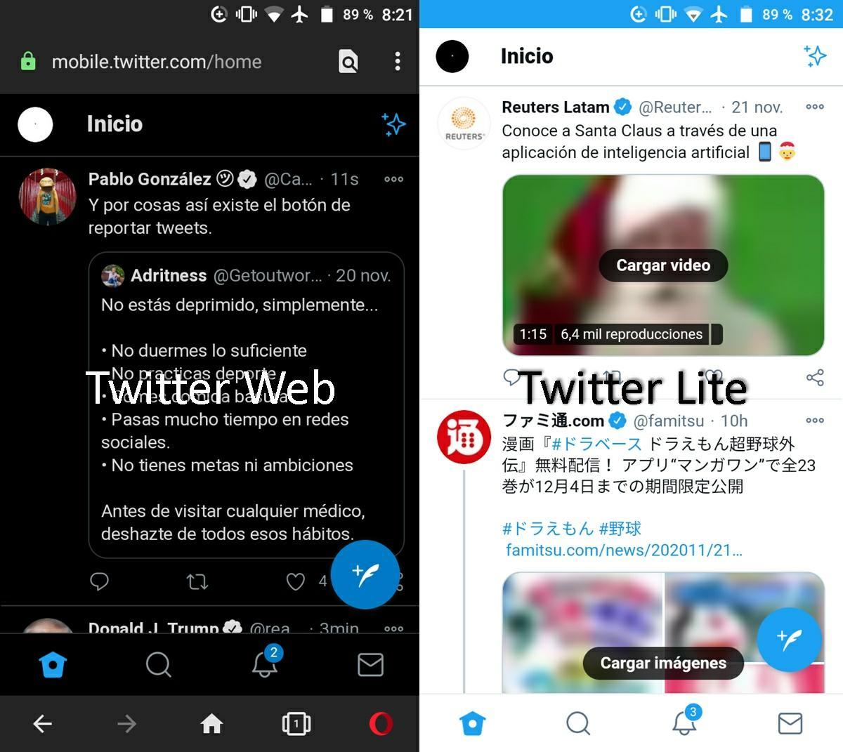 twitter web vs twitter lite