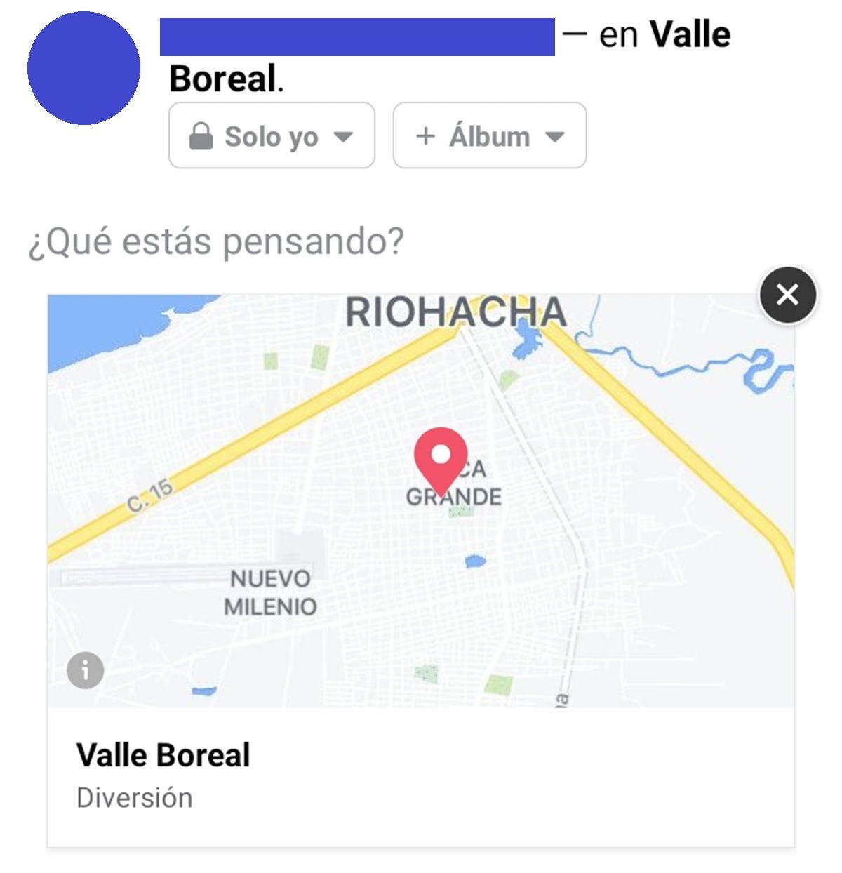 ubicacion creada en facebook