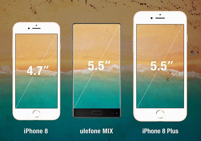 Ulefone MIX comparación ratio de pantalla