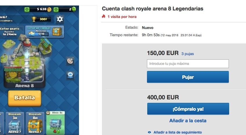 venden cuentas clash royale ebay