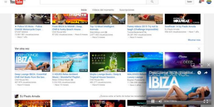 ventana flotante youtube