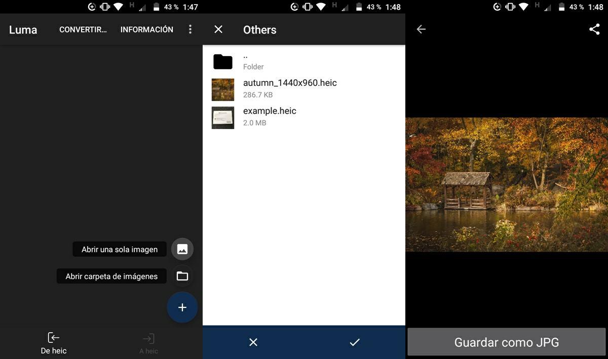 ver archivo heic en android con app luma