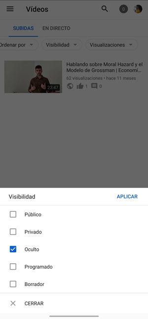 Cómo ver los vídeos ocultos afectados en YouTube Studio