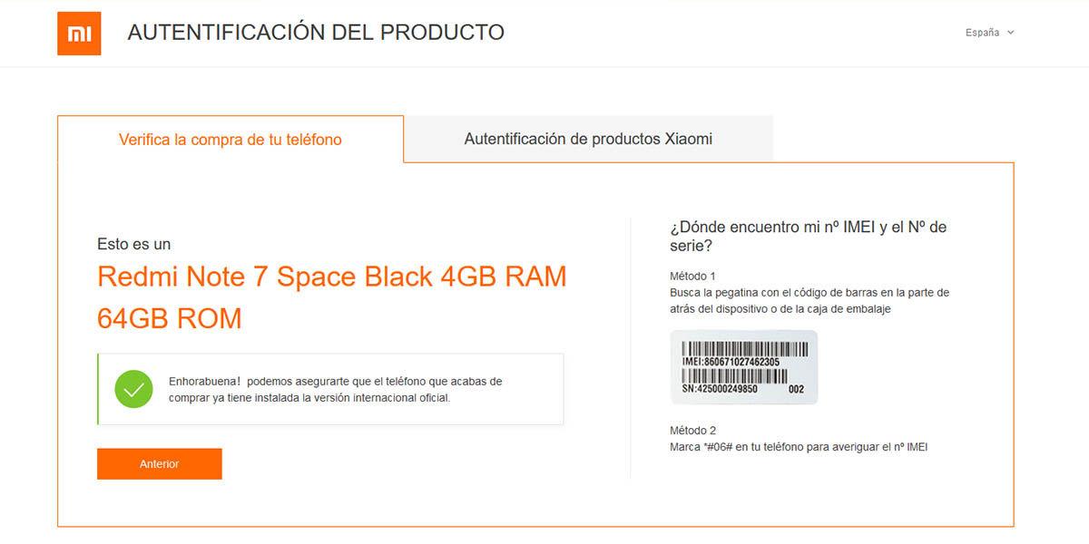 verificación IMEI Xiaomi