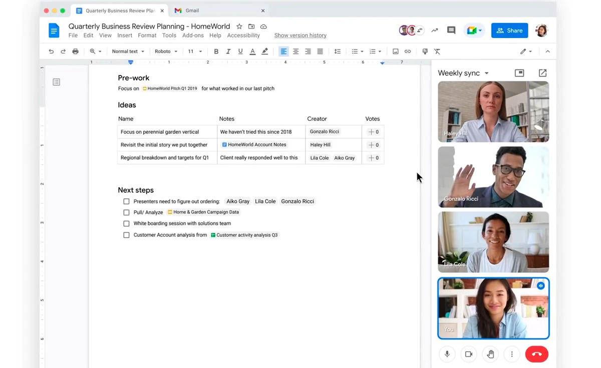 videollamadas de google meet en google docs