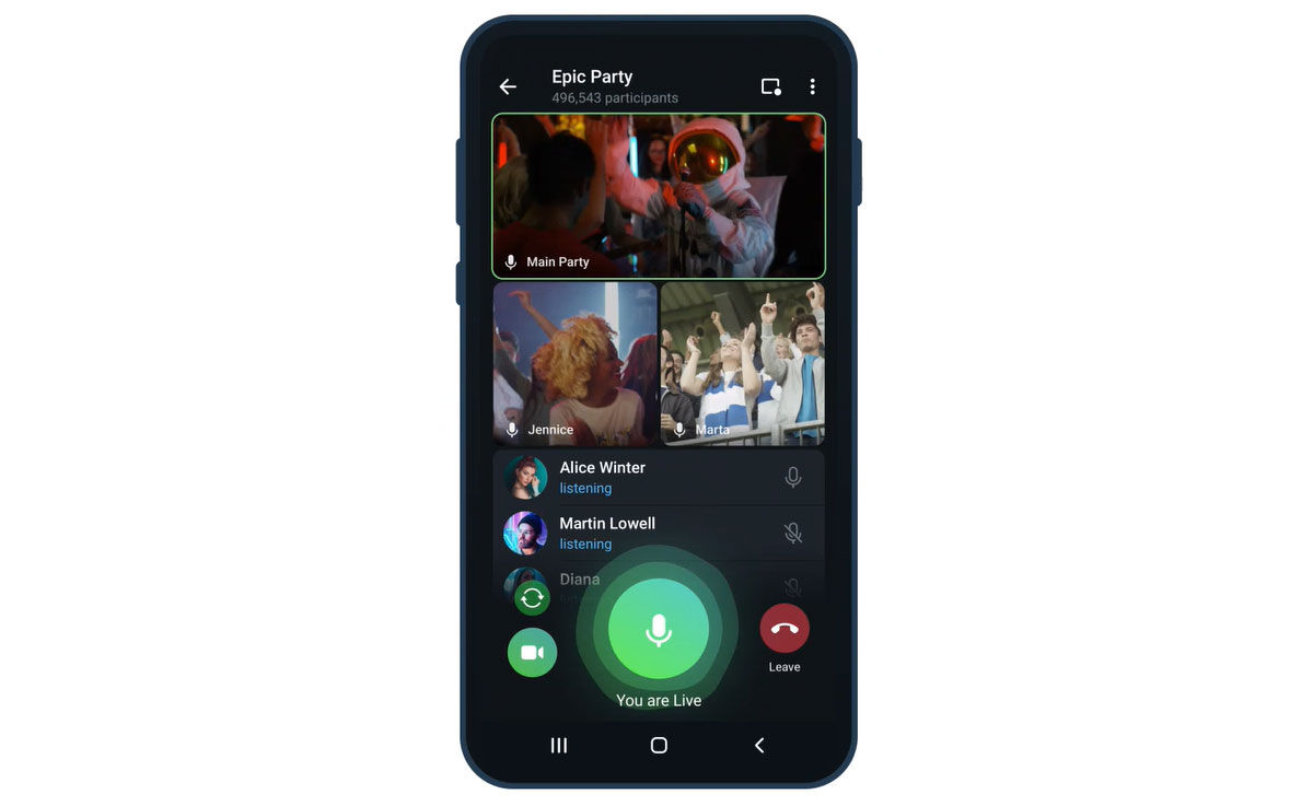 Videollamadas ilimitadas telegram 8.0