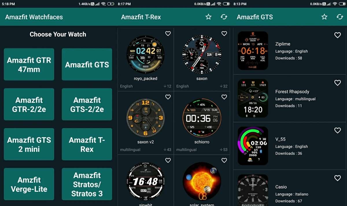 watchfaces for amazfit