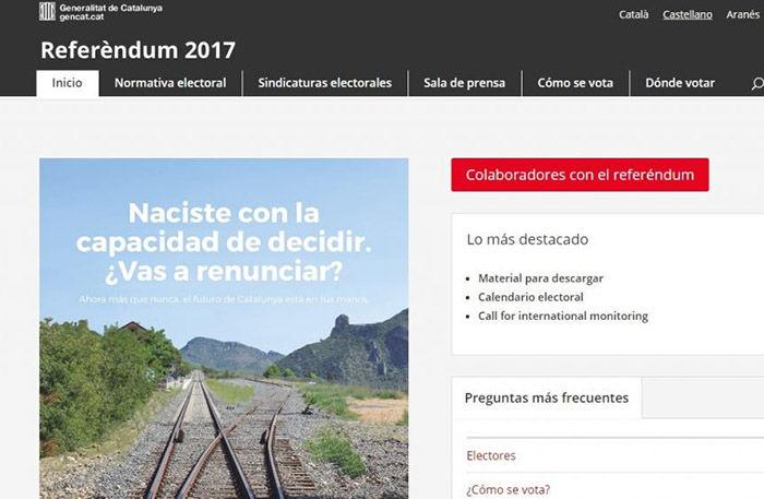 Web referéndum Cataluña