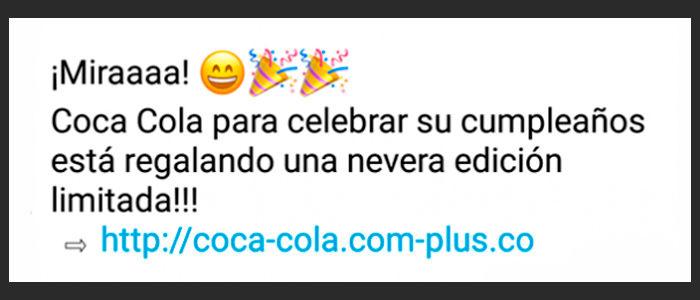 WhatsApp bulo Cocacola mensaje