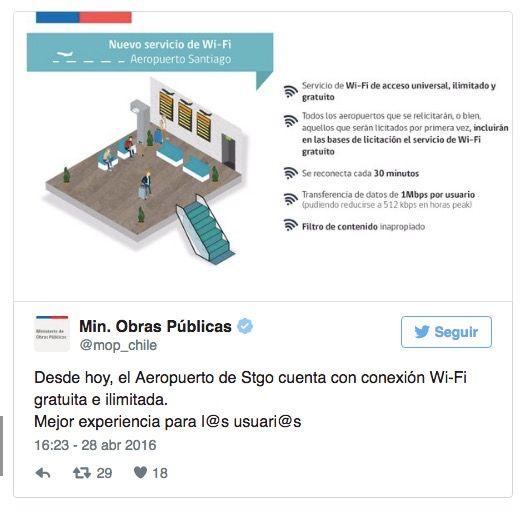 wifi gratis aueropuerto santiago
