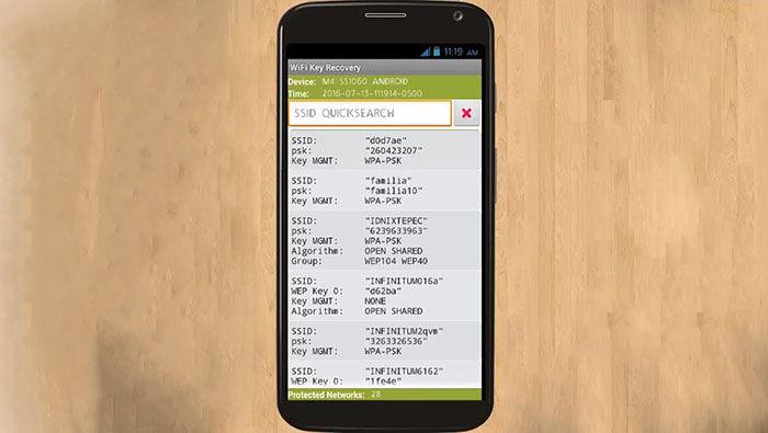 Lista de contraseñas en WiFi Key Recovery