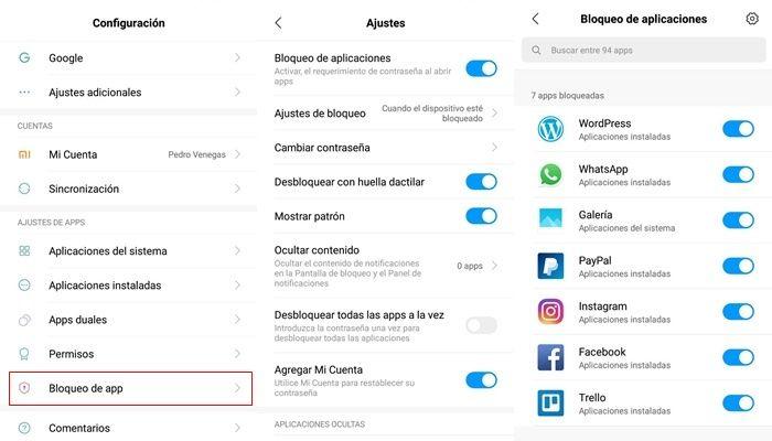 xiaomi bloqueo de apps