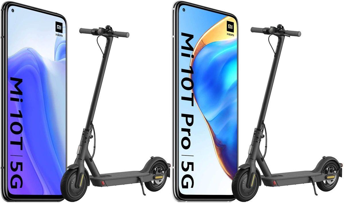 xiaomi mi 10t con patinete scooter mi essential