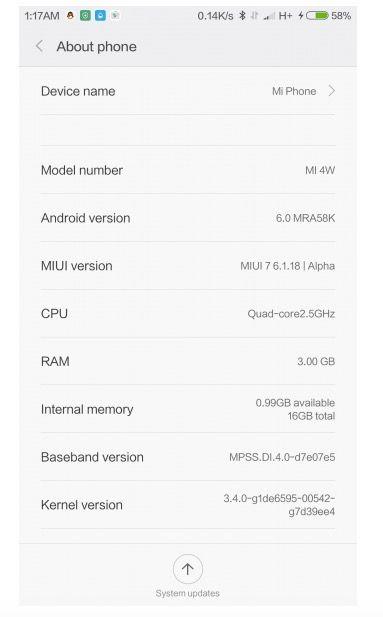 xiaomi mi 4 android 6.0.1