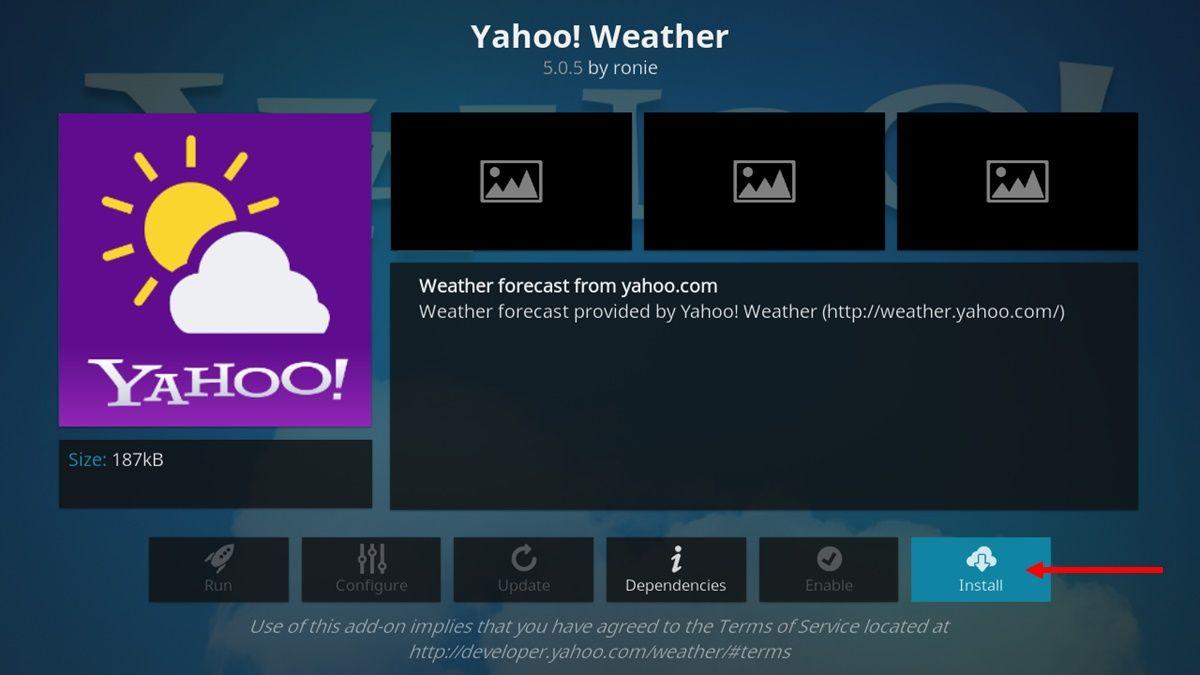 yahoo weather add on kodi.
